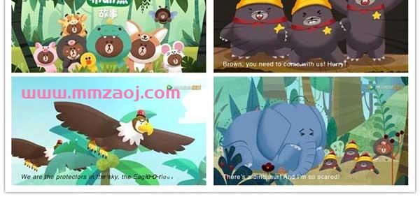 儿童益智冒险动画片《丛林布朗熊故事》英文版全26集下载 mp4/720p/英语英字 百度网