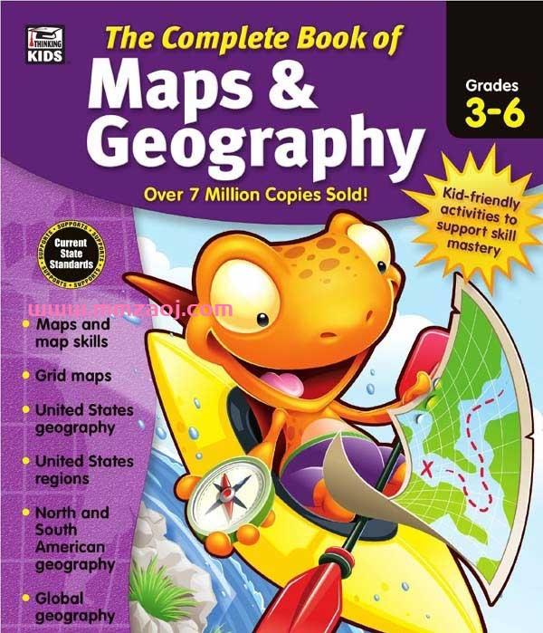 美国原版地图地理练习册《The Complete Book of Maps and Geography》PDF下载百度网盘